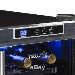 NewAir 18Bottle Freestanding Wine Cooler Refrigerator Stainless Steel Glass Door