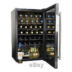 NewAir 33 Bottle Wine Cooler Fridge Glass Door Digital Display Chiller