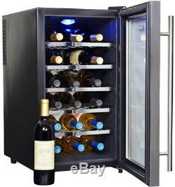 NewAir Freestanding Wine Beverage Cooler Double-paned Glass Door 18 Bottle