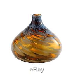 New 11 Hand Blown Art Glass Teardrop Vase Bottle Black Amber Decorative