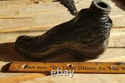 Nice Cranberry Puce Black Glass Boot with Big Toe Whiskey Nip Flask Sheared Top