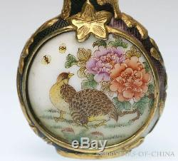 Old Handmade Carved Overlay Enamel Glass Snuff Bottle Bird & Flowers