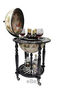 Old World Globe Bar Furniture Black Wine Storage Bottle Glass Holder Mobile New