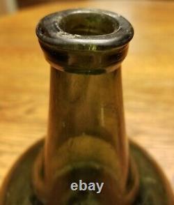 Original 1700s Crude Colonial Era Blown Green Black Glass Dutch Onion Rum Bottle