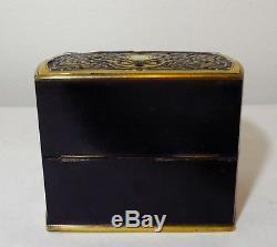 Outstanding 19thc Boulle Ebonized 3 Bottle French Perfume Casket