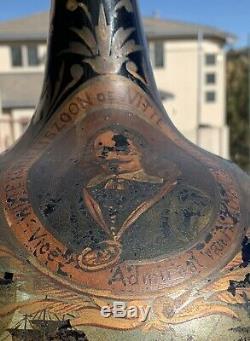 Painted Black Glass Onion Demijohn Pirate Bottle 1628 Sea Battle Dutch-Spain