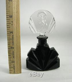 Perfume Bottle Art Deco Czechoslovakia Glass Signed Black Dauber Carved Figure