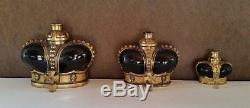 Prince Matchabelli CrossTop Black Glass Crown Perfume Bottle SMALL BOTTLE ONLY