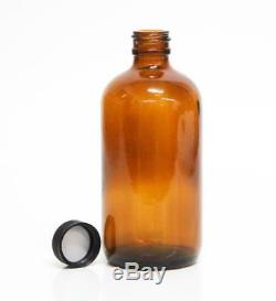 Qorpak GLC-10236 8oz Amber Glass Bottles with Black Poly Caps Lot of 85 NEW (5814)