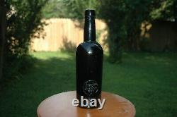RARE 19th Century Applied Black Glass Seal Bottle 3piece mold English Dated 1887