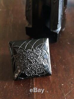RARE! Lalique Figural Ambre D'Orsay Black Glass Perfume Bottle Excellent