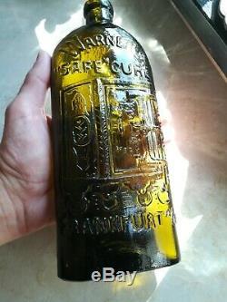 RAR Warner's Safe Cure Frankfurt A/M Olive Green / Black Glass Medicine Cure