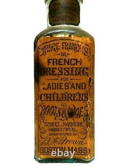 Rare 19th C Antique Cirage Francais/ French Shoe Dressing Glass Bottle Boston Ma