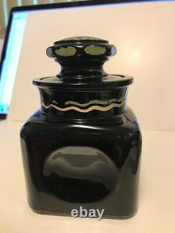 Rare 3 Piece Set, Black Glass Bathroom Bottles, Cologne, Salts, With Swan Decals