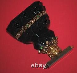 Rare Antique Art Deco Bohemian Czech Black Opaline Glass Perfume Bottle Atomizer