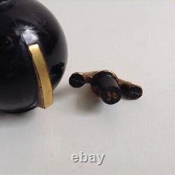 Rare Antique Sensation Delyna Black Perfume Bottle Mini Art Deco, France