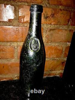 Rare Black Glass Anchor Wine Bottle