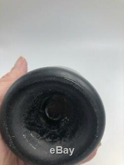 Rare Black Glass Mini Ale Bottle Or Splitz Green Kick Up Base With Open Pontil