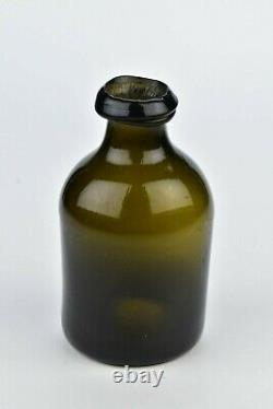 Rare Early American Black Glass Utility Bottle 18th Century