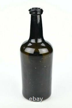 Rare English Black Glass HHC Sealed Wine Bottle 18th Century