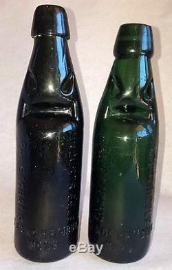 Rare German Made Black Glass Codd Bottle INDUSTRIEELE PALEMBANG SS & CO HAMBURG