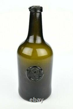 Rare Unlisted English Black Glass Seal Bottle 18th Century