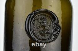 Rare Unlisted English Black Glass Sealed Wine Bottle 18th Century