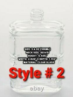 Refillable Perfume Spray Glass Atomizer Empty Bottle Flat Shape 1oz, 2oz & 3.4oz