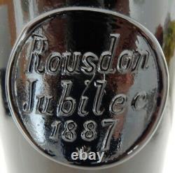 Rousdon Jubilee dated 1887 sealed black glass wine bottle