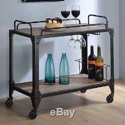 Rustic Vintage Serving Cart Bar Drinks Bottle Glasses Steamware Rolling Trolley