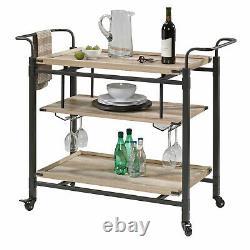 Rustic Wine Bar Cart Industrial Style Liquor Rack Glass Bottle Storage Pub Wood
