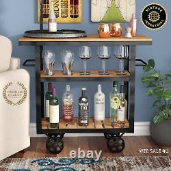 Rustic Wine Bar Cart Liquor Rack Glass Bottle Storage Industrial Style Pub Wood