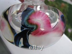 SALE! LOTTON STUDIOS PERFUME BOTTLE Jerry Heer, Pink Floral/ Black, 4 1/8,1997