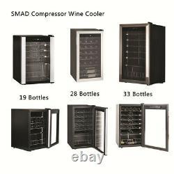 SMAD 19/28/33 Bottle Wine Fridge Compressor Beverage Cooler Glass Door LED