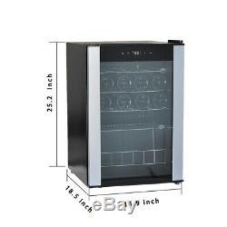SMAD 19 Bottle Freestanding Wine Cooler Glass Door Beverage Fridge Home Kitchen