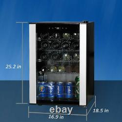 SMAD 19 Bottle Wine Cooler Beverage Drinks Fridge Glass Door LED Undercounter
