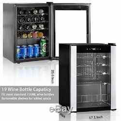SMAD 19 Bottle Wine Cooler Chiller Cellar Refrigerator Mini Fridge Glass Door