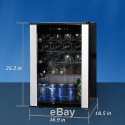 SMAD 19 Bottle Wine Cooler Refrigerator Glass Door Fridge Under Counter Small US