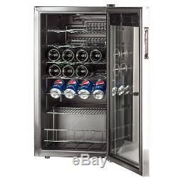 SMAD 28 Bottle Compressor Wine Cooler Freestanding Glass Door Stainless Steel