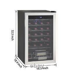 SMAD 28 Bottle Wine Fridge Beverage Cooler Stainless Steel Frame LED Glass Door