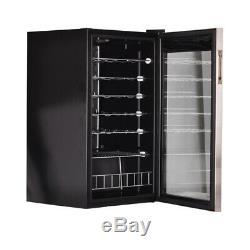 SMAD 28 Bottles Glass Door Compressor Wine Cooler Drinks Fridge Bar Chiller Home