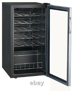 SMAD 28 Bottles Wine Fridge Wine Cooler Stainless Steel Touch Control Glass Door