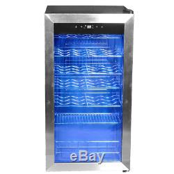 SMAD Drinks 28 Bottles Glass Door Wine Fridge Cellar Beverage Bar Refrigerator