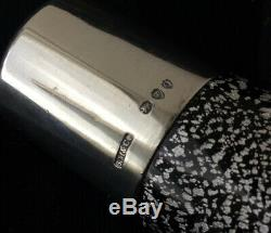 Sampson Mordan Rare Smelling Salt Bottle In Black Glass With Silver Flakes 1891