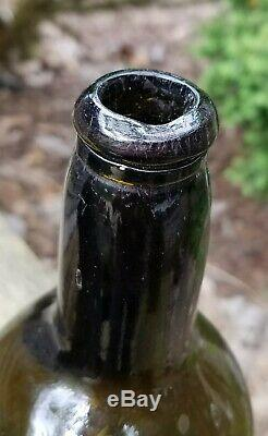 Sir Wm Strickland Black Glass Seal Bottle 1809 Antique English Dated