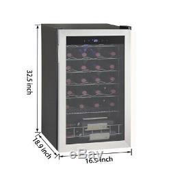 Smad 28 Bottles Glass Door Wine Fridge Drinks Cooler Beverage Bar Refrigerator