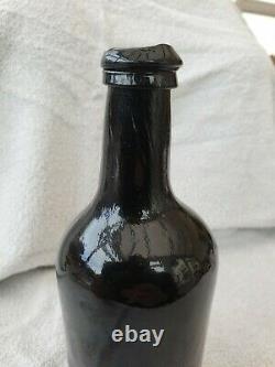 Small ENGLISH FREE BLOWN BLACK GLASS ONION / MALLET SQUAT WINE BOTTLE