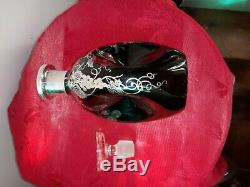Sterling Silver Overlay Pinch Bottle Decanter Black Glass