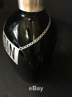 Sterling Silver Overlay Pinch Bottle Decanter Black Glass Gin Vintage