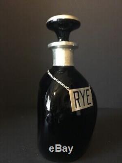 Sterling Silver Overlay Pinch Bottle Decanter Black Glass Rye Vintage